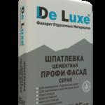 Шпатлевка цементная De Luxe ПРОФИ ФАСАД серая, 25кг